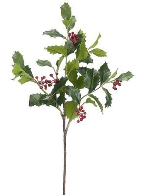 """28"""" Holly Spray With PlasticBerryGreen Red"""