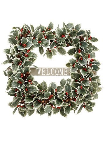 "22"" Holly/Pine Cone Welcome Wreath Green Brown"