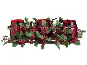 """26"""" Holly/Berry/Pine ConeCenterpiece w/2.5"""" GlassCandleholder x3 No Candle Red"""