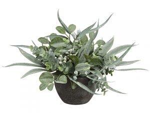 13 Eucalyptus Arrangement inPaper Mache PotGreen Gray