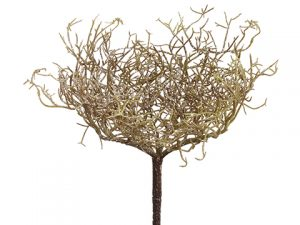 "11"" Glittered Plastic Twig Bush Green"