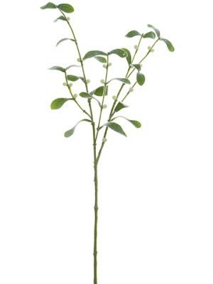 "30"" Iced Mistletoe Spray White Green"