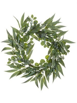 "30"" Eucalyptus Wreath w/Seed Green Two Tone"