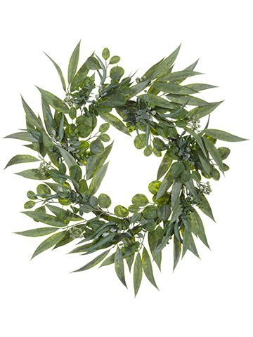 "30"" Eucalyptus Wreath w/Seed Green Two Tone"