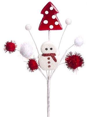 "9"" Snowman/Christmas Tree/Pompom Ball PickRed White"