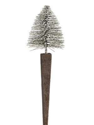 "11.75"" Glittered Tree Garden Pick Green"