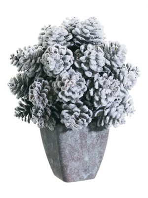 "9"" Snow Pine Cone in Paper Mache Pot Snow Brown"