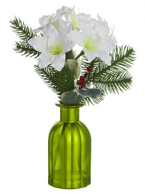 "12"" Amaryllis Arrangement in Glass Vase White"