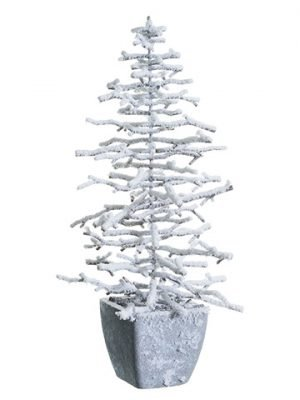 "13"" Snowed Plastic Twig Treein Paper Mache PotBrown Snow"