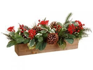 """9"""" Holly/Berry/Pine ConeArrangements in Wood BoxRed Green"""