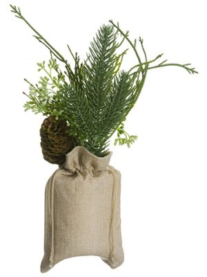 "11"" Pine/Cone/Sedum Arrangement in Burlap Bag Green"