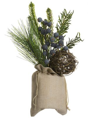 "11"" Pine/Berry/Twig Ball Arrangement in Burlap Bag Green"