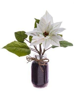 """12"""" Velvet Poinsettia inGlass VaseWhite"""