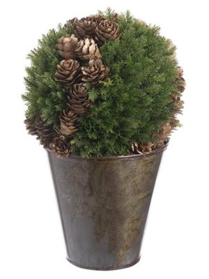 8.5in Cedar/Cone Ball Topiary in Pot Green Brown