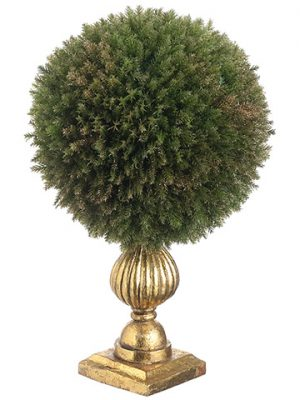 "11.5"" Gold Glittered Cedar Ball Topiary in Pot Green Gold"