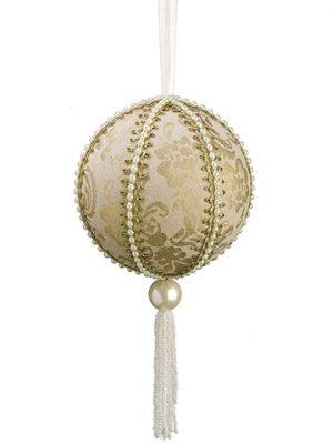 """12"""" Pearl Tassel BallOrnamentGold Pearl"""