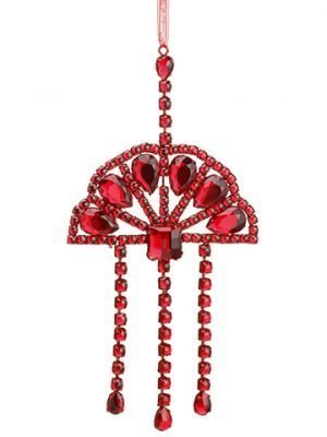 "11"" Glittered Rhinestone Drop Ornament Glittered Red"