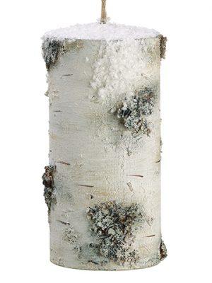 "8.5""H x 4.25""D Snowed FauxBirch Log OrnamentNatural Snow"