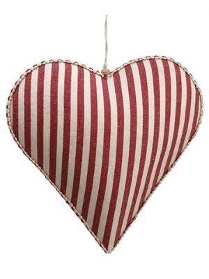 "11"" Stripe Heart Ornament Red White"