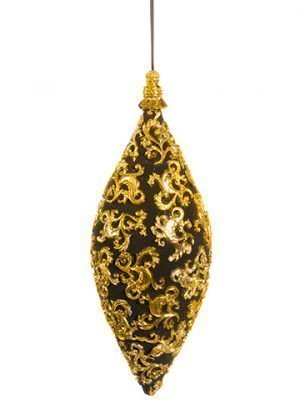 "11"" Filigree Finial Ornament Black Gold"