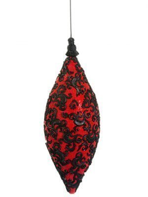 "11"" Filigree Finial Ornament Red Black"