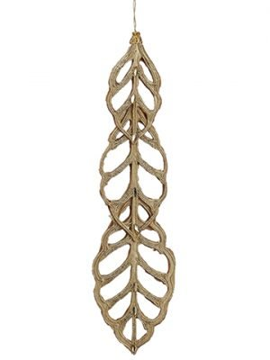 "9"" Rhinestone Leaf Ornament Gold"