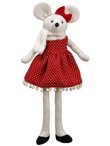 ''20'''' Mouse in Polka Dot DRESS Ornament Red Cream''