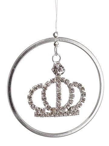 "1.9"" Rhinestone Crown RingOrnamentSilver White"