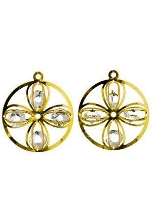 """2"""" Rhinestone Flower RingOrnament (2 ea/bag)Gold"""