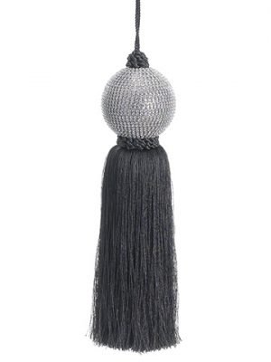 "11.75"" Jeweled Ball Tassel Ornament Silver Teal"