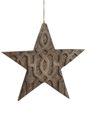 "11"" Star Ornament Antique Gray"