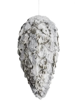 "11"" Glittered Pine Cone Ornament Glittered Gray"