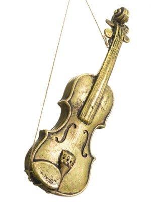 """16"""" Violin Ornament Antique Gold"""