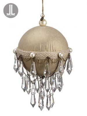 "9.5"" Rhinestone Drop Ball Ornament Gold Clear"
