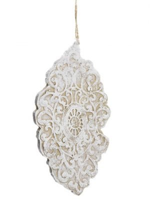 "10"" Lace Finial Ornament White Natural"