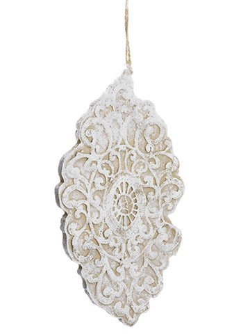 """10"""" Lace Finial Ornament White Natural"""