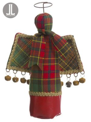 "10"" Plaid Angel Ornament Red Green"