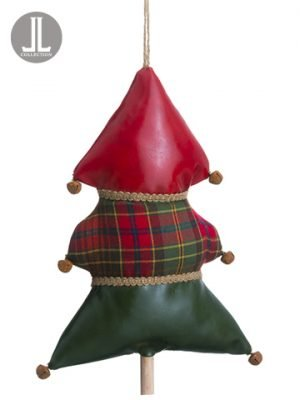 "11"" Plaid Tree Ornament With Bells Red Green"