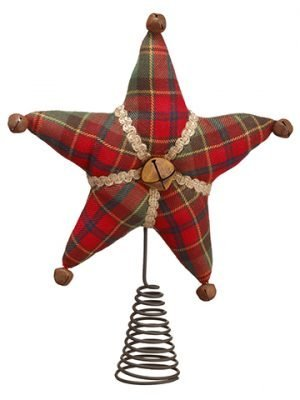 "11"" Plaid Tree Topper Red Green"