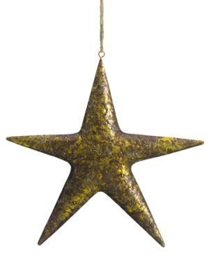 "10.5"" Metal Star Ornament Antique Gold"