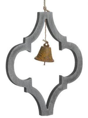 "9"" Wood Finial Ornament With Bell Gray Rust"