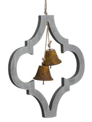 "12.5"" Wood Finial OrnamentWith BellGray Rust"