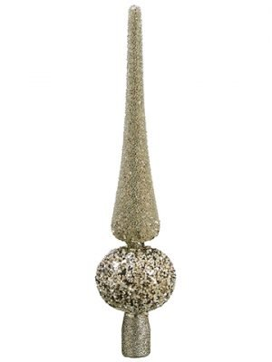 "12"" Beaded Finial Tree Topper in Acetate Box Champagne Glittered"
