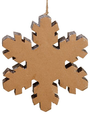 "10"" Glittered Snowflake Ornament Brown Silver"
