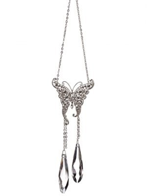 "8.75"" Rhinestone ButterflyOrnamentClear Silver"