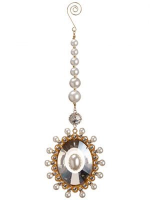 "10"" Pearl Crystal Drop Ornament Gold Pearl"