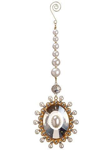 "10"" Pearl Crystal DropOrnamentGold Pearl"