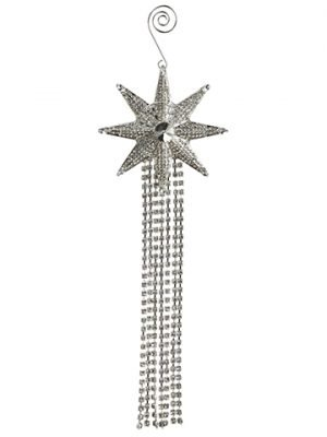 "10"" Rhinestone Star Tassel Ornament Clear Silver"