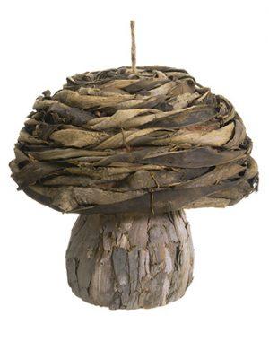 """9.5""""H x 10""""D Mushroom Ornament Brown"""