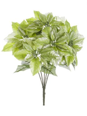 "19.5"" Metallic Poinsettia Bush x5 Metallic Green"